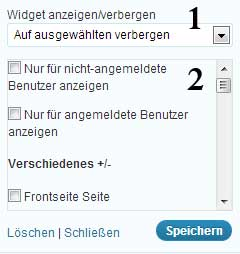Display Widgets Einstellungen