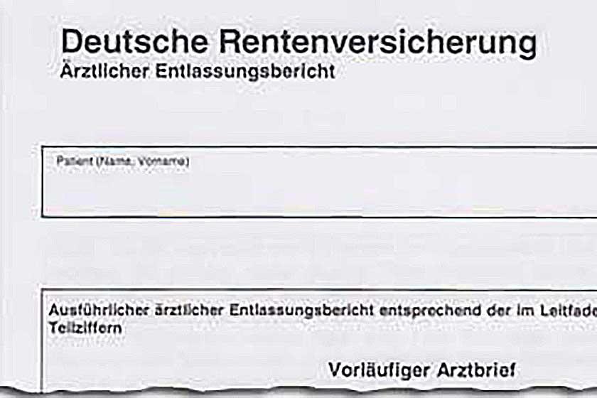 Entlassungsbericht, DRV, Rentenversicherung
