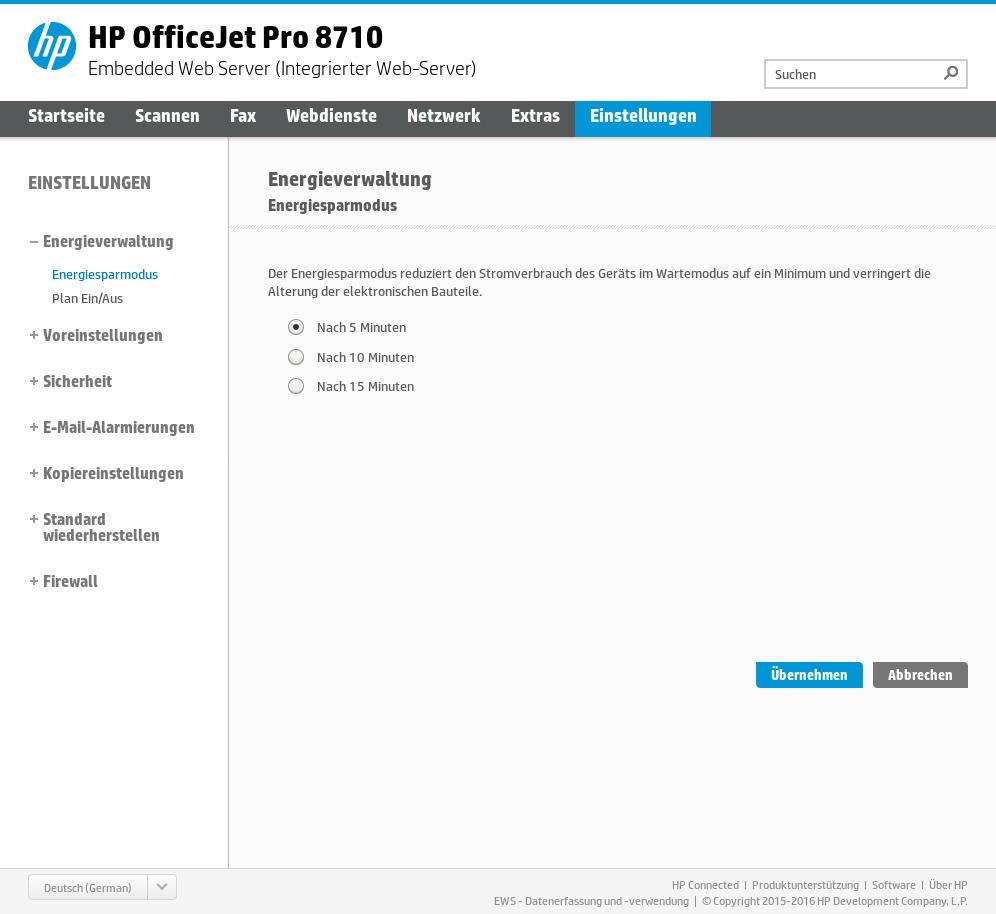 HP OfficeJet Pro 8715 - EWS - Energiesparmodus