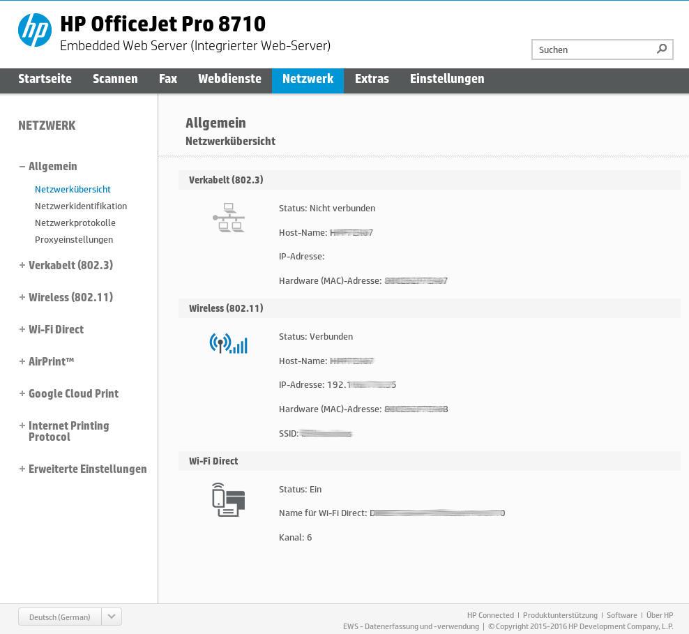 HP OfficeJet Pro 8715 - EWS - Network