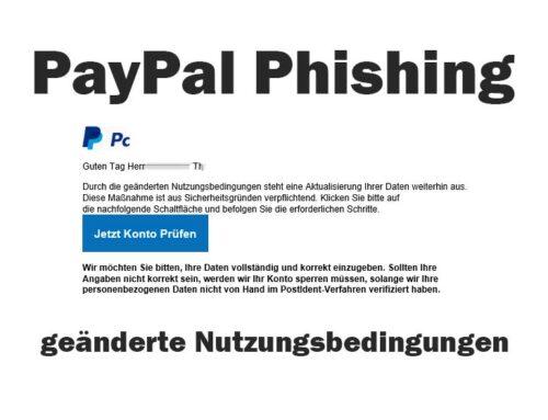 PayPal geänderte Nutzungsbedingungen – Phishing