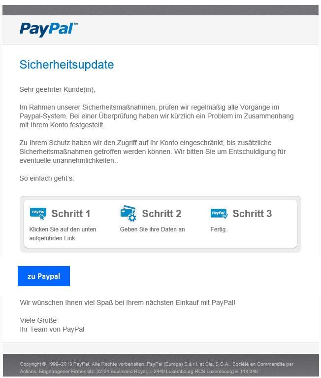 paypal phishing mails nicht spurlos. Black Bedroom Furniture Sets. Home Design Ideas