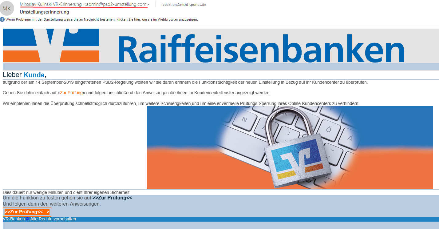 Volksbank Phishing Melden