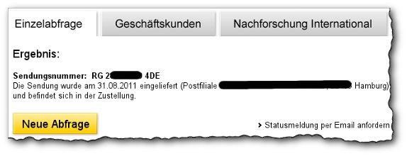 Deutsche Post AG - Einschreiben Status