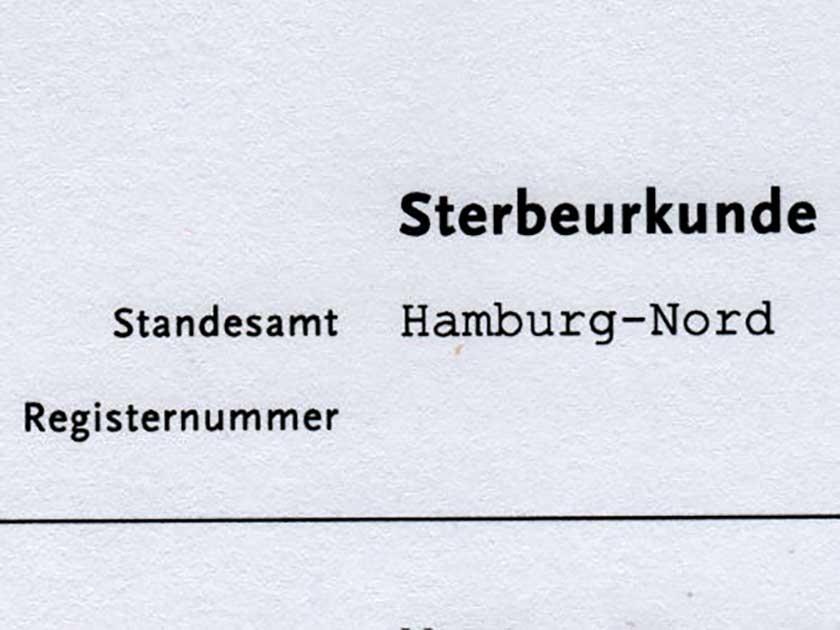 Sterbeurkunde Hamburg