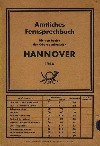 telefonbuch hannover 1954