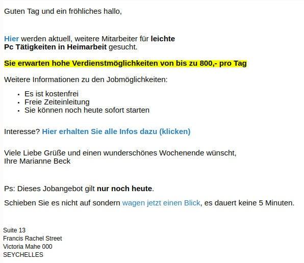 Trading Betrug schweizerformel E-Mail