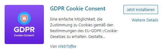 wordpress gdpr cookie plugin